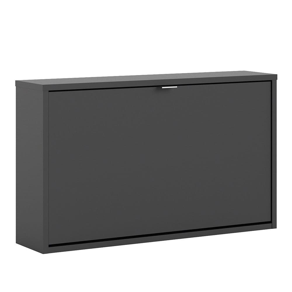Footwear Shoe cabinet  w. 1 tilting door and 1 layer in Matt Black